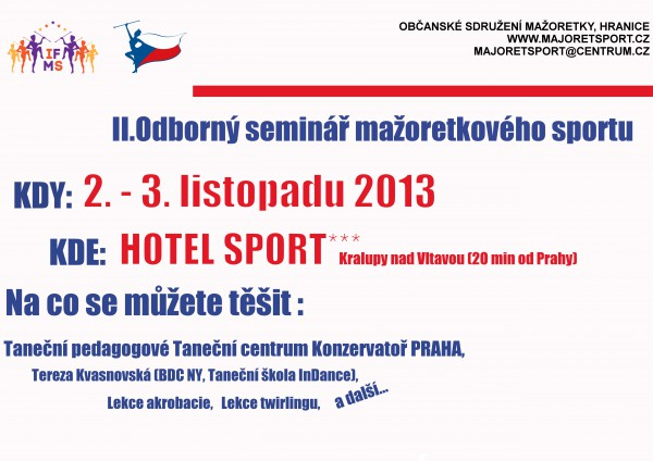 Plakát II. Odborný seminář mažoretkového sportu