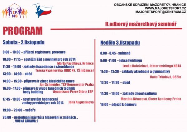Program II. Odborný seminář mažoretkového sportu